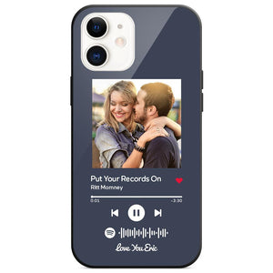 Custom Spotify Code Music Plaque iphone Case With Text Dark Blue