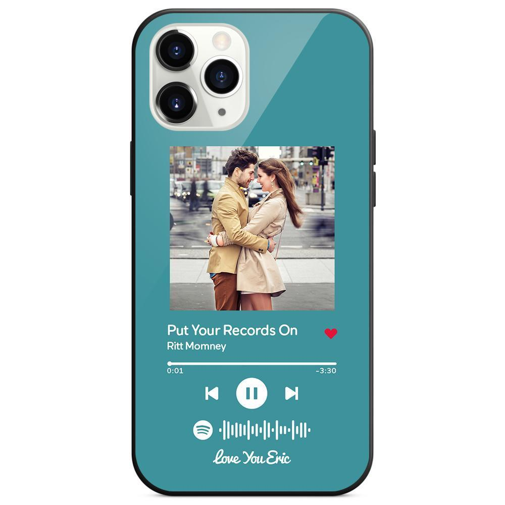 Custom Spotify Code Music Plaque iphone Case With Text Light Blue