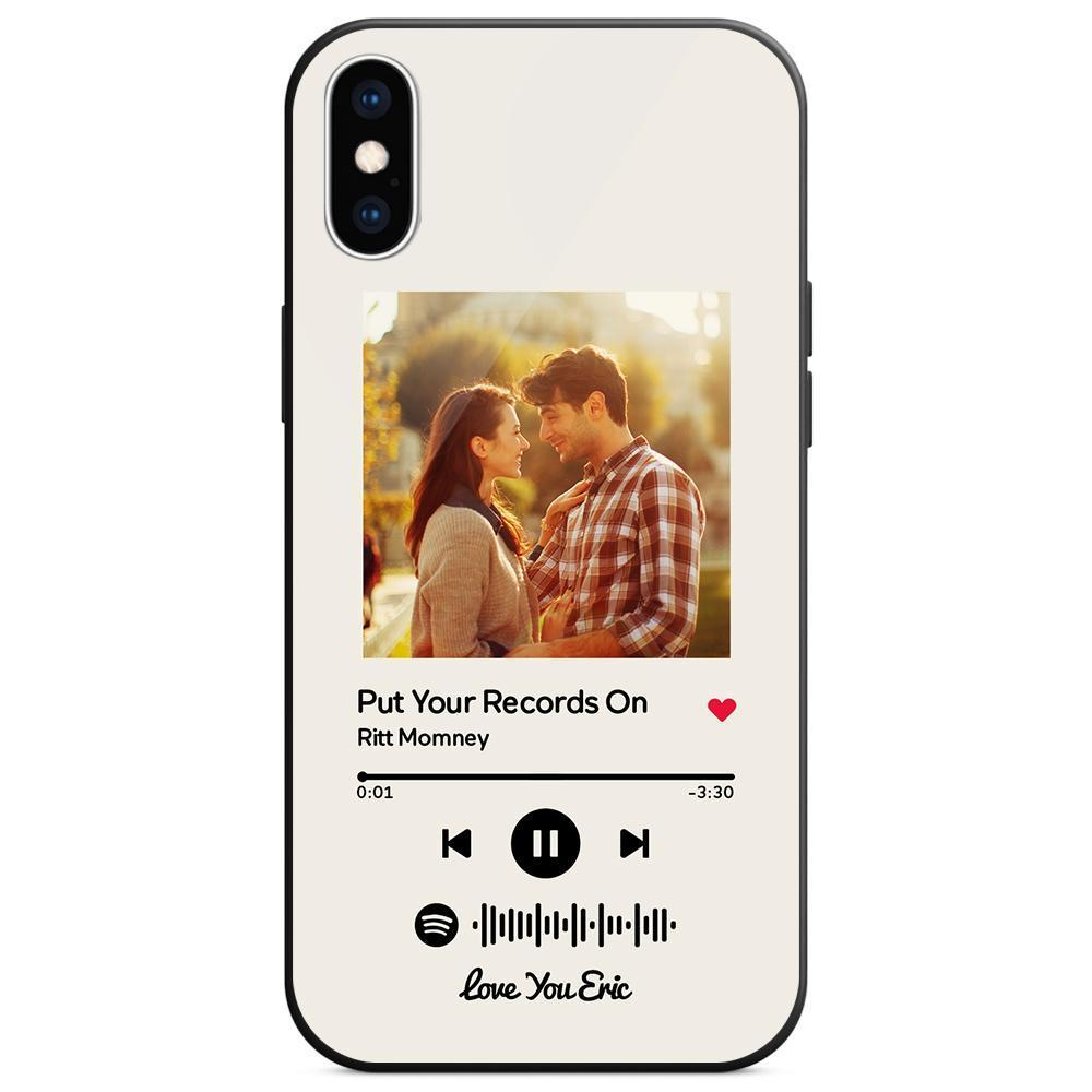 Custom Spotify Code Music Plaque iphone Case With Text White