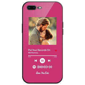 Custom Spotify Code Music Plaque iphone Case With Text Pink