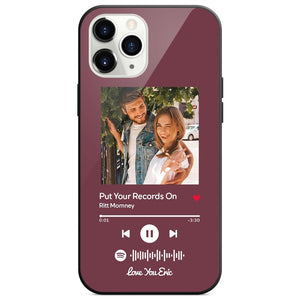 Custom Spotify Code Music Plaque iphone Case With Text Purple