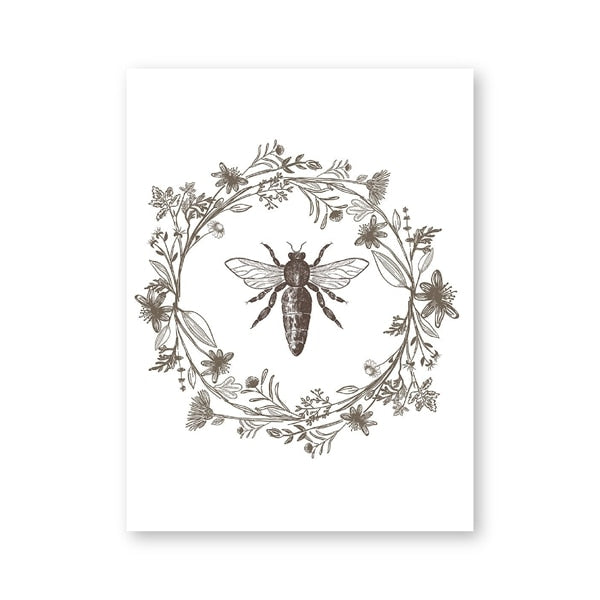 Queen Bee Print Nature Botanical Poster Farmhouse Style Sign Home Wall Art Decor Modern Minimalism Canvas Painting Wall Picture