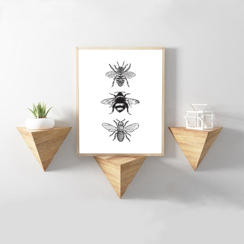 Bee Vintage Poster Prints Farmhouse Wall Art Picture Decor , Black White Insect Retro Art Canvas Painting Rural Home Decoration