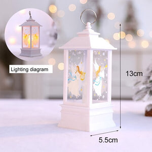 Decorative Led Candle Light Christmas Tree Decoration Rustic Candle Lantern Fawn Snowman Santa Angel Ornaments Pendant Lamp