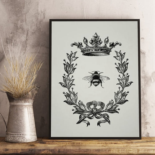 Bee Queen Prints Rustic Wall Art Picture Farmhouse Decor , Bee and Wreath Vintage Poster French Country Home Art Canvas Painting