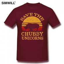 Load image into Gallery viewer, Retro Save The Chubby Unicorns T Shirt Grunge Tee Shirts Men's Graphic Short Sleeves Cotton T-Shirts Crew Neck rhinoceros Tshirt