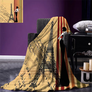 Paris City Decor Throw Blanket Grunge Background Classical Glamor Woman with Cigarette Fashion Pattern Retro Art Blanket for Bed