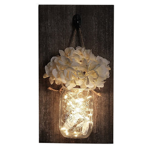 Mason Jar Fairy Light  Wall Sconce