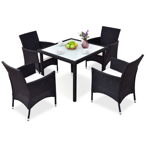 5 pcs Black Outdoor Patio Rattan Table and Chairs Set Fashionable and Modern Style Garden Furniture with Fabric Cushion HW54834+