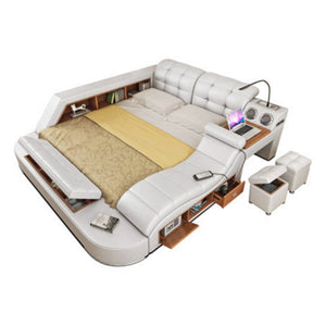 Modern relaxation leather bed