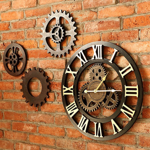 40cm/45cm Handmade 3D retro rustic decorative luxury art big gear wooden vintage large wall clock on the wall for gift