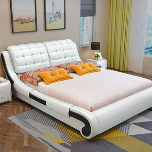 Leather bed simple modern residence master bedroom furniture double soft bed 1.8 m 1.5 m