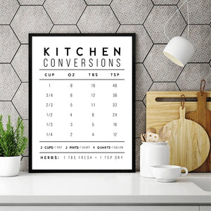 Kitchen Conversions Modern Farmhouse Poster And Print , Kitchen Quote Minimalist Canvas Painting Picture Home Wall Art Decor