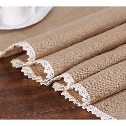 Burlap Cream Lace Table Runner 12x108Jute Table Cover for Rustic Country Outdoor Wedding Party Kitchen Farmhouse Decoration