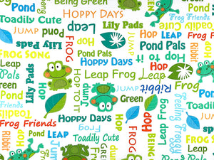 White Cotton Fabric covered with frogs and sayings.