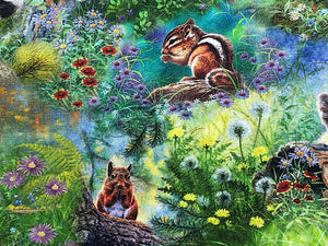 Close up of squirrels surrounded by flowers.