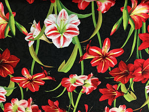 Black cotton fabric covered with red and white amaryllis.