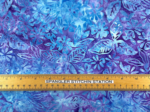 Ruler on Komo Batik Blue and Lavender flowers and leaves