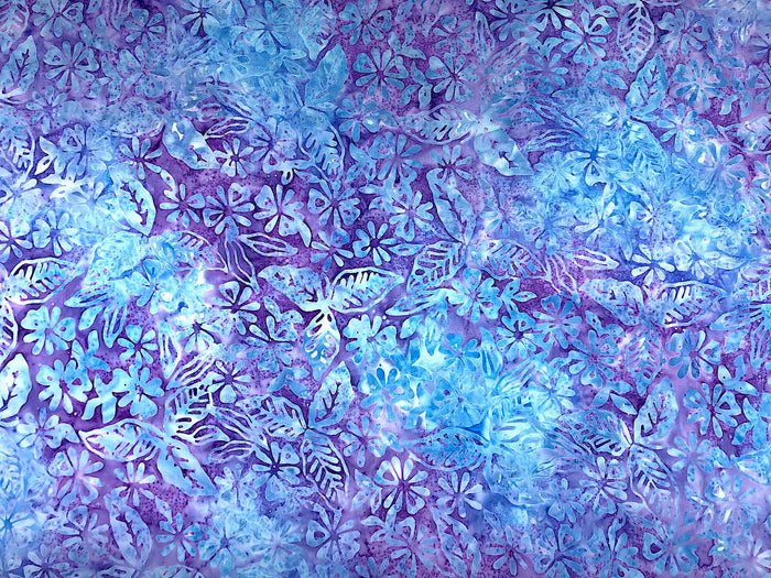 Komo Batik Blue and Lavender Flowers and Leaves -BATIK-37