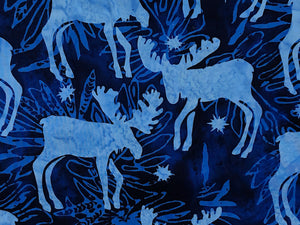 Close up of blue moose on a blue background.