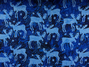 Cotton Batik fabric covered with moose.