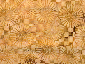 Close up of batik fabric covered with flowers in shades of brown