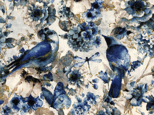 Close up of blue birds, butterflies and flowers.