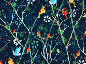Blue cotton fabric covered with birds sitting on branches.