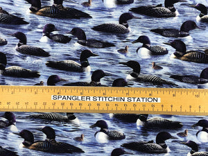 Ruler on fabric to show size of Loons.