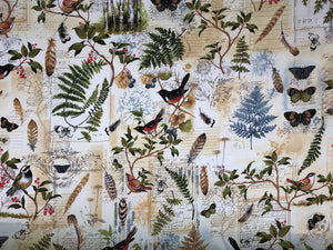 Cotton fabric covered with birds, butterflies, ferns, tree branches, bees and more.