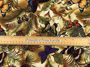 Ruler on cotton fabric to show sizing.