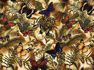 Cotton fabric covered with butterflies on leaves.