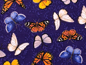 Close up of white, blue, yellow and orange butterflies.