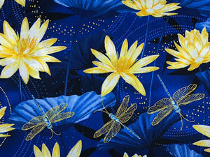 Close up of waterlilies and dragonflies.