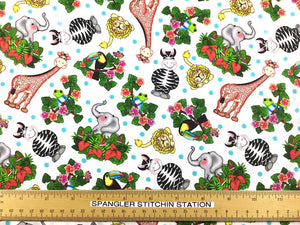 Ruler on fabric to show size of the various animals