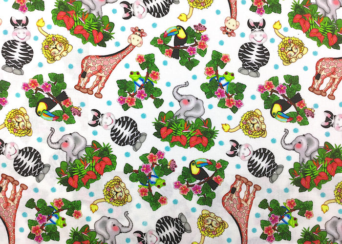 Bazooples Tossed Animal Zoo Fabric - ANMISC-23