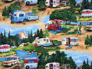 Vintage Travel Trailers and trucks in a campground scene.