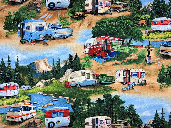 Vintage Travel Trailer Fabric - CAMP-23