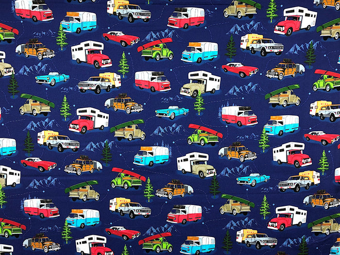 American Road Trip Vintage Camping Fabric - CAMP-26