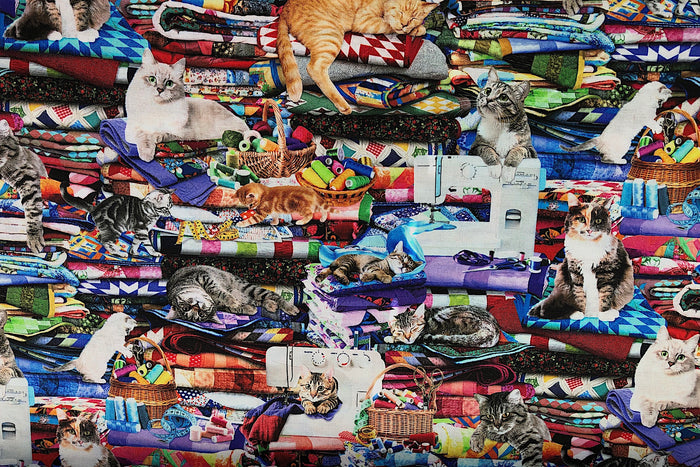 Cats on Quilts Cat Fabric - CAT-42