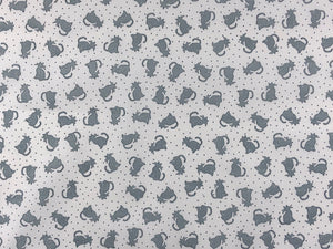 White cotton fabric covered with small grey cats.