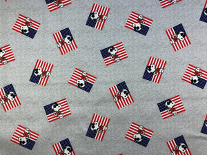 Grey cotton fabric with Snoopy Joe Cool in front of a USA Flag.