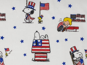 Close up of Patriotic Snoopy Fabric.