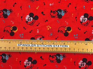 Ruler on fabric to show sizing of Mickey Mouse and Music notes.