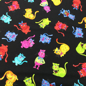 Black cotton fabric covered with yellow, pink red, green and blue cats.