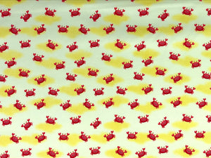Cotton Fabric covered with red lobsters.
