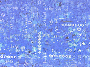 Blue fabric covered with sewing notions and sayings.