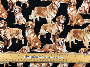 Ruler on Golden Retriever Dog Fabric