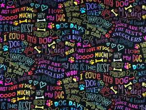 Close up of black cotton fabric covered with dog sayings such as I love my dog, my best friend and more.