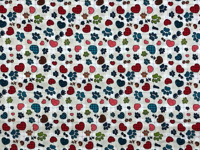 Rescued and Loved Paw Print Fabric - DOG-37